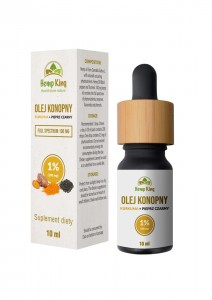 Olej konopny 1% RAW kurkuma pieprz 10 ml Hemp King